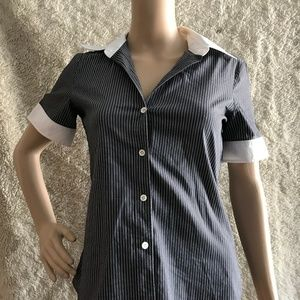 Theory Pin Stripe Short Sleeve Button Down